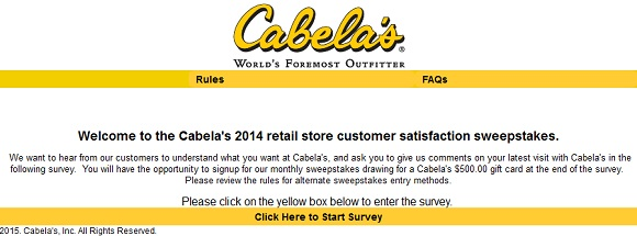 www.cabelas.com/retailsurvey | Win A $500 Gift Card Sweepstakes
