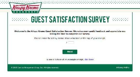 customer service survey krispy kreme