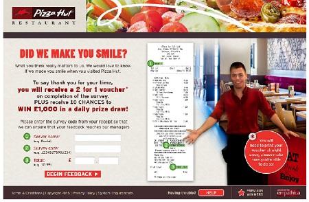 www.tellpizzahut.co.uk | Pizza Hut Win £1,000 Cash Survey