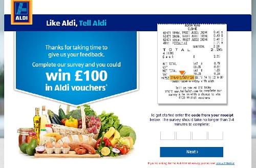 www.tellaldi.com | Tell Aldi Customer £100 Vouchers Survey Sweepstakes