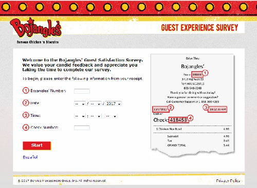 www.bojangleslistens.com | Bojangles' Validation Code Survey