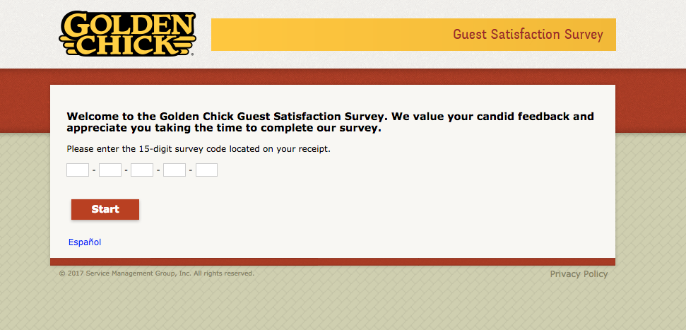 Golden Chick Guest Satisfaction Survey