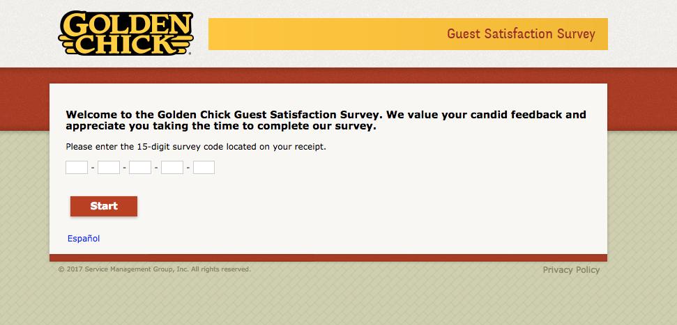 Golden Chick Guest Satisfaction Survey
