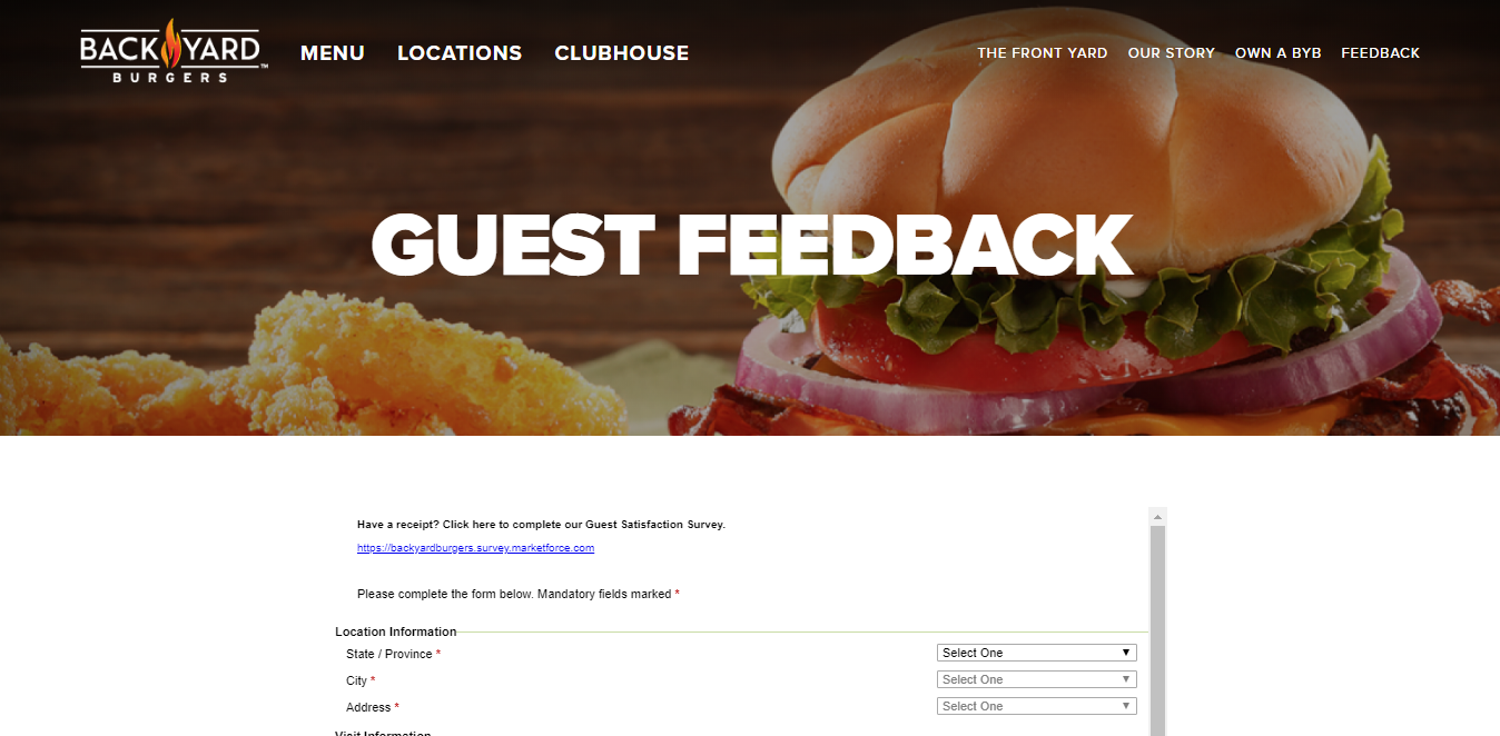Backyard Burger Feedback www.backyardburgers/guest-feedback | back yard burgers survey