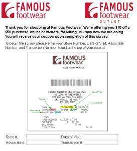 www.famousfootwear.com/survey