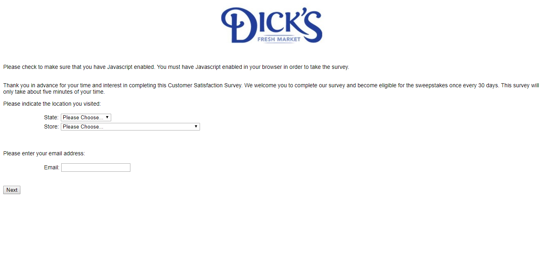 www.dicksmarket.com/survey