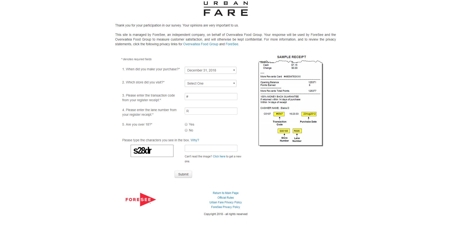 www.urbanfare.com/survey