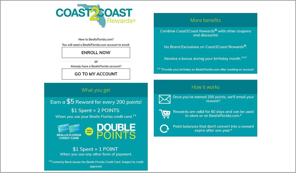 Coast2coast Rewards Wwwbeallsfloridacomonlinerewards