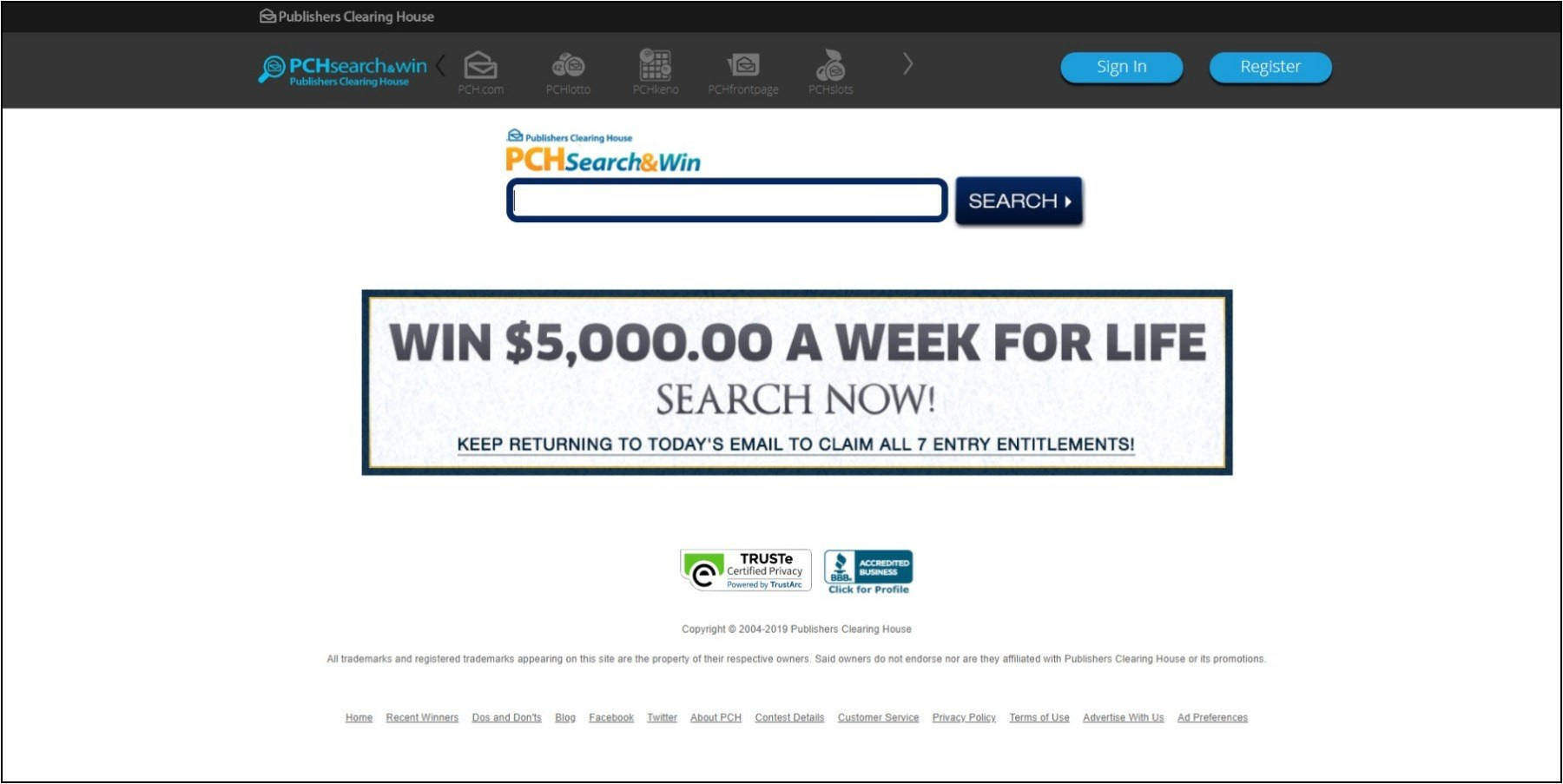 PCH Search – Search PCH com – Earn $5,000 a Week for Life